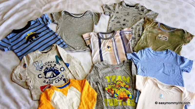 Toddler tees on display part of capsule wardrobe for toddler