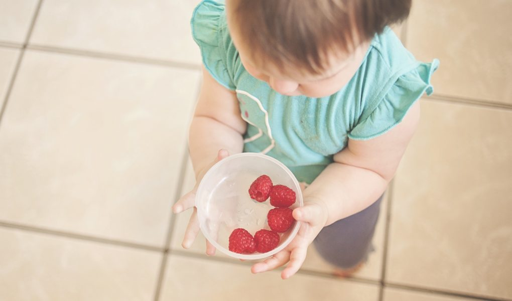 Baby led weaning child holding a bowl of food