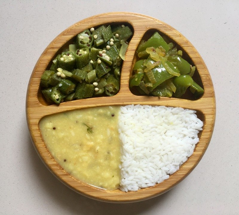 Okra-Capsicum-Dal-Rice-Indian-Meal
