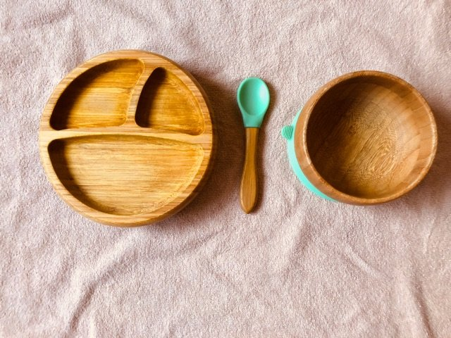 Avanchy bamboo wood suction bowl and plate