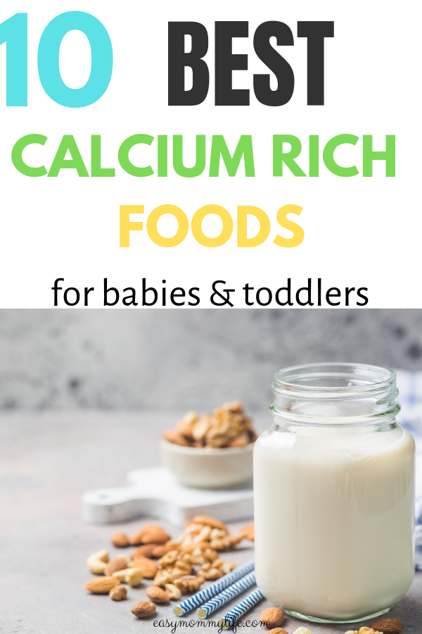 calcium rich foods for kids- a glass of milk and almonds
