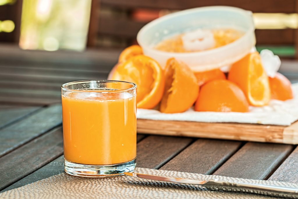 a glass of orange juice- calcium in orange juice