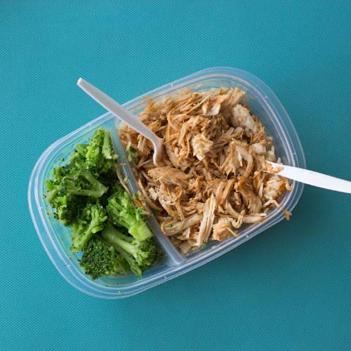 Packed lunch box with tuna and salad