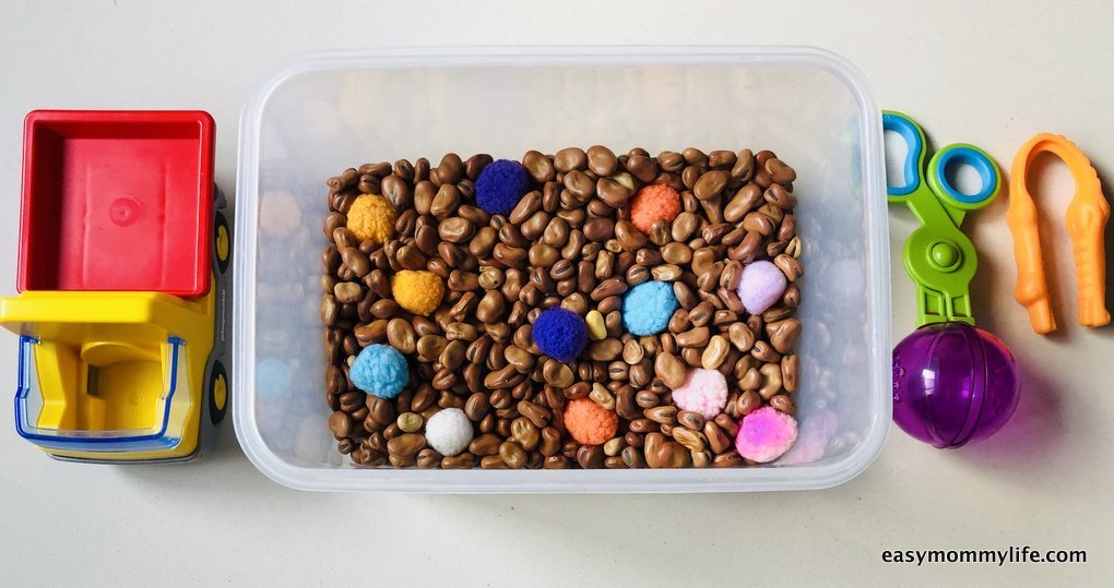 sensory bin made with beans